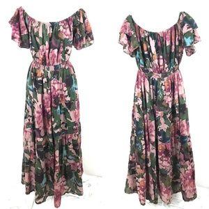 World Market boho romantic floral print maxi dress
